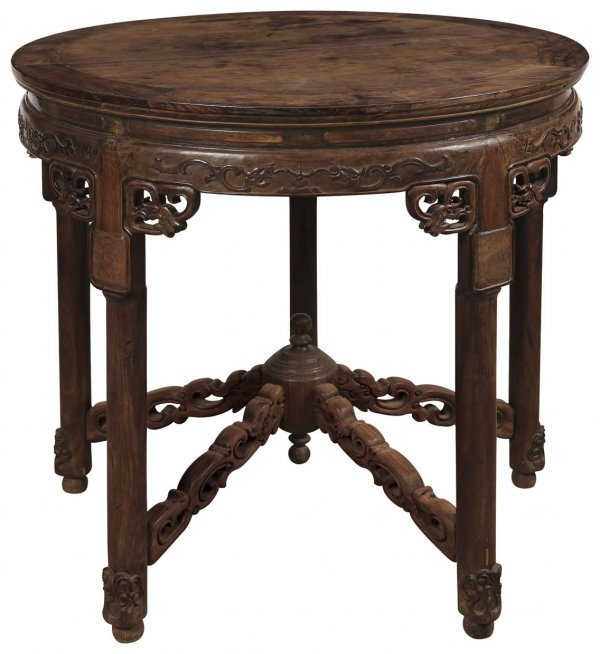 3: Chinese rosewood round table with dragon designs