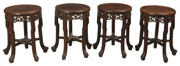 7: Set of four Chinese rosewood stools inlaid with burl