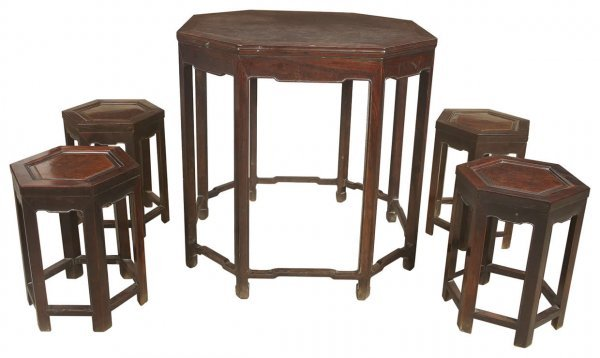 8: Chinese rosewood octagonal table and four stools wit