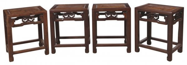 9: Set of four Chinese rosewood stools inlaid with burl