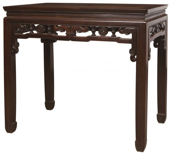 13: Chinese rosewood half table with Kui patterns