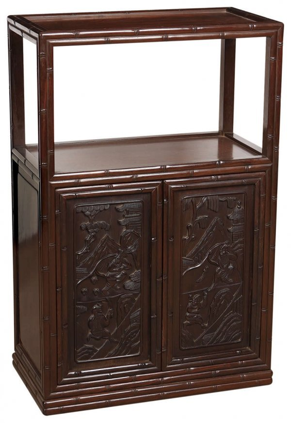 24: Chinese rosewood wardrobe with bamboo joint and fig