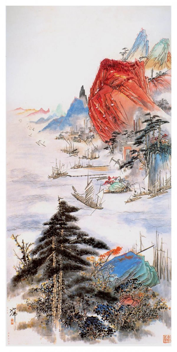 1001: Chinese landscape  painting attributed to Hu Yefo