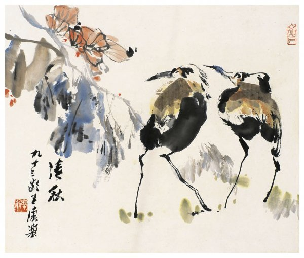 1021: Chinese Cranes painting attributed to Wang Kangle