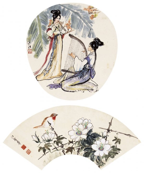 1022: Chinese flowers and birds painting attributed to