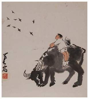 Chinese herding painting by Li Keran