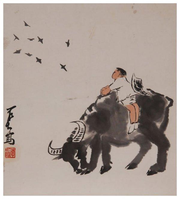 1: Chinese herding painting by Li Keran