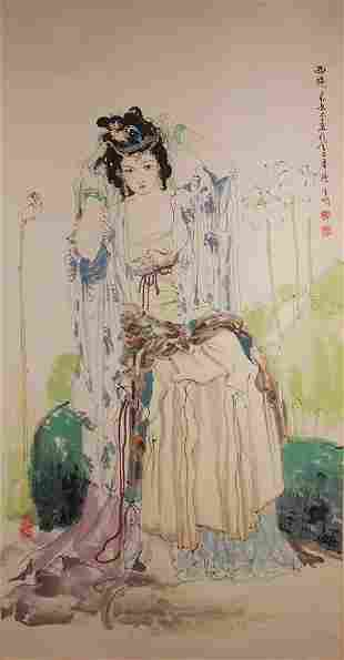 Chinese ancient beauty lady painting by Hu Baoming
