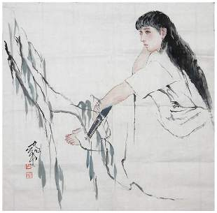 Chinese lady painting by he Jiaying