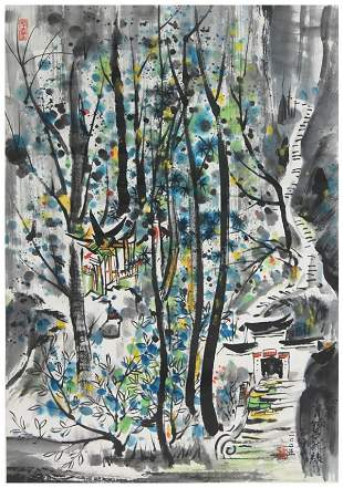 Chinese Mountian Qingcheng landscape painting by Wu