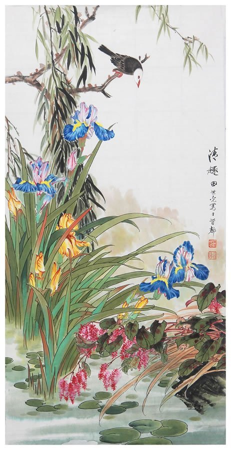 18: Chinese flower and bird painting by Tian Shiguang