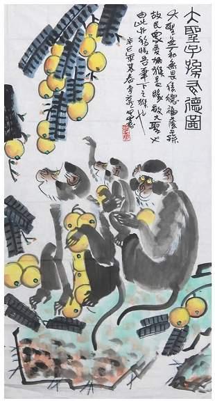 Chinese Monkey King painting by Li Yan