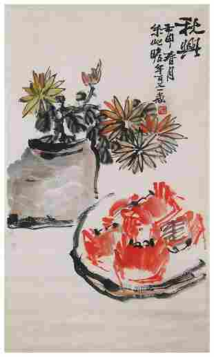 Chinese crabs and chrysanthemums painting by Zhu Qi