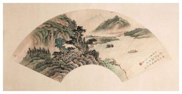 58: Chinese landscape fan painting by Zhang Zhiwan