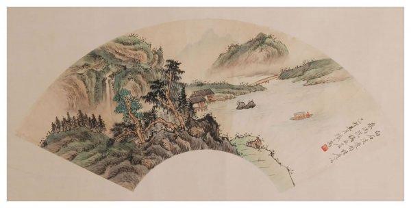 59: Chinese landscape fan painting by Zhang Zhiwan