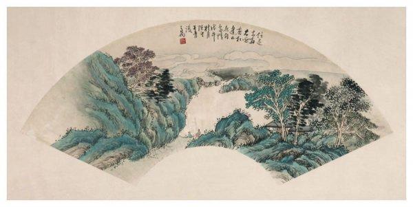 60: Chinese landscape fan painting by Zhang Zhiwan