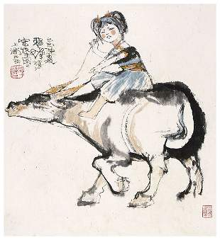Chinese girl painting attributed to Cheng Shifa