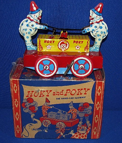 13: BOXED HOKY AND POKY CLOWN HANDCAR