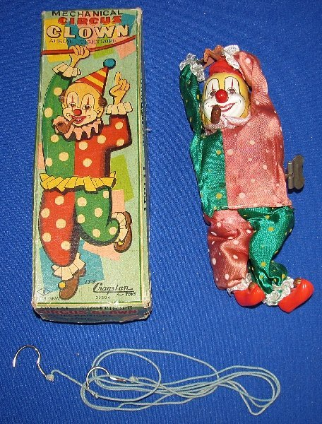 17: BOXED MECHANICAL CIRCUS CLOWN AERIAL TIGHTROPE