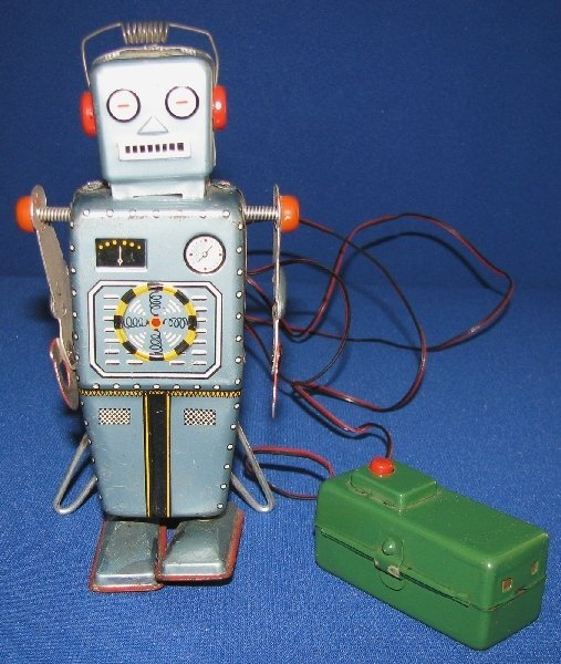 100: BATTERY OPERATED EASEL BACK ROBOT BY YONEZAWA.
