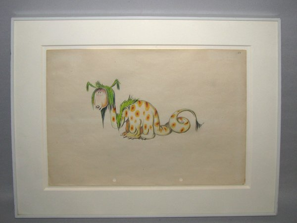 1: FRAMED DR SUESS COLORED PENCIL DRAWING