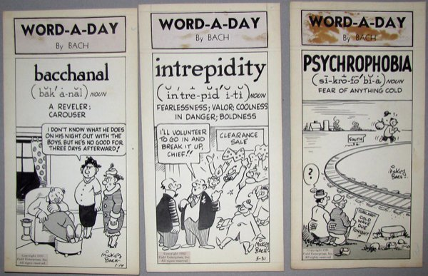 10: THREE PIECES ORIGINAL CARTOON ART FOR WORD-A-DAY BY