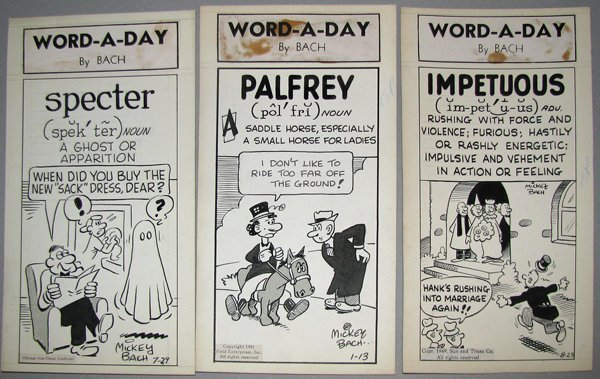 11: THREE PIECES ORIGINAL CARTOON ART FOR WORD-A-DAY BY