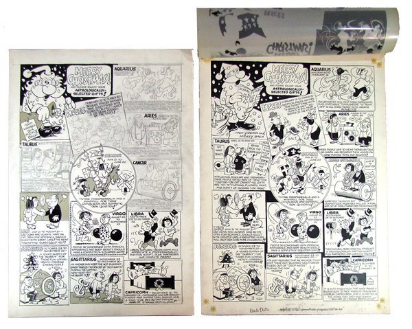 19: TWO PIECES OF ORIGINAL CARTOON ART BY MICKEY BACH