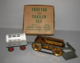 BOXED MARX TRACTOR AND TRAILER SET