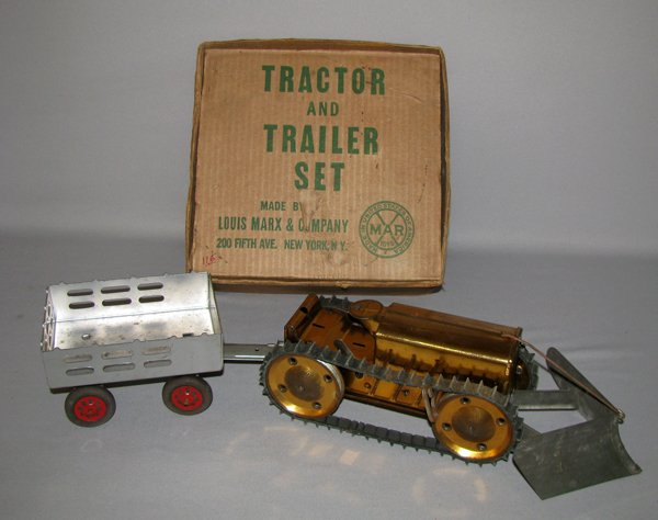 8: BOXED MARX TRACTOR AND TRAILER SET