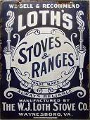 294: LOTH'S STOVES AND RANGES PORCELAIN SIGN