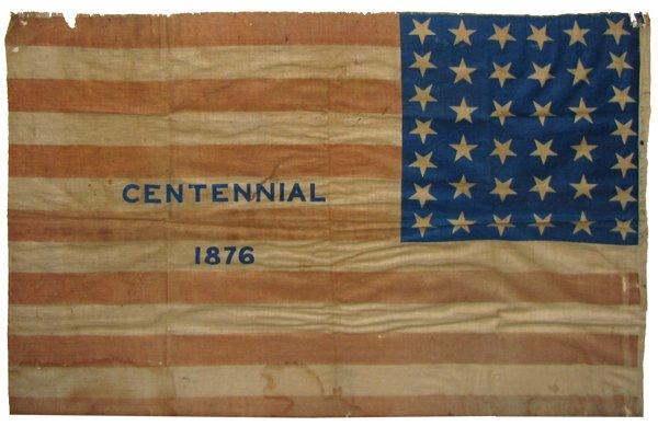 338: FRAMED 1876 CENTENNIAL FLAG