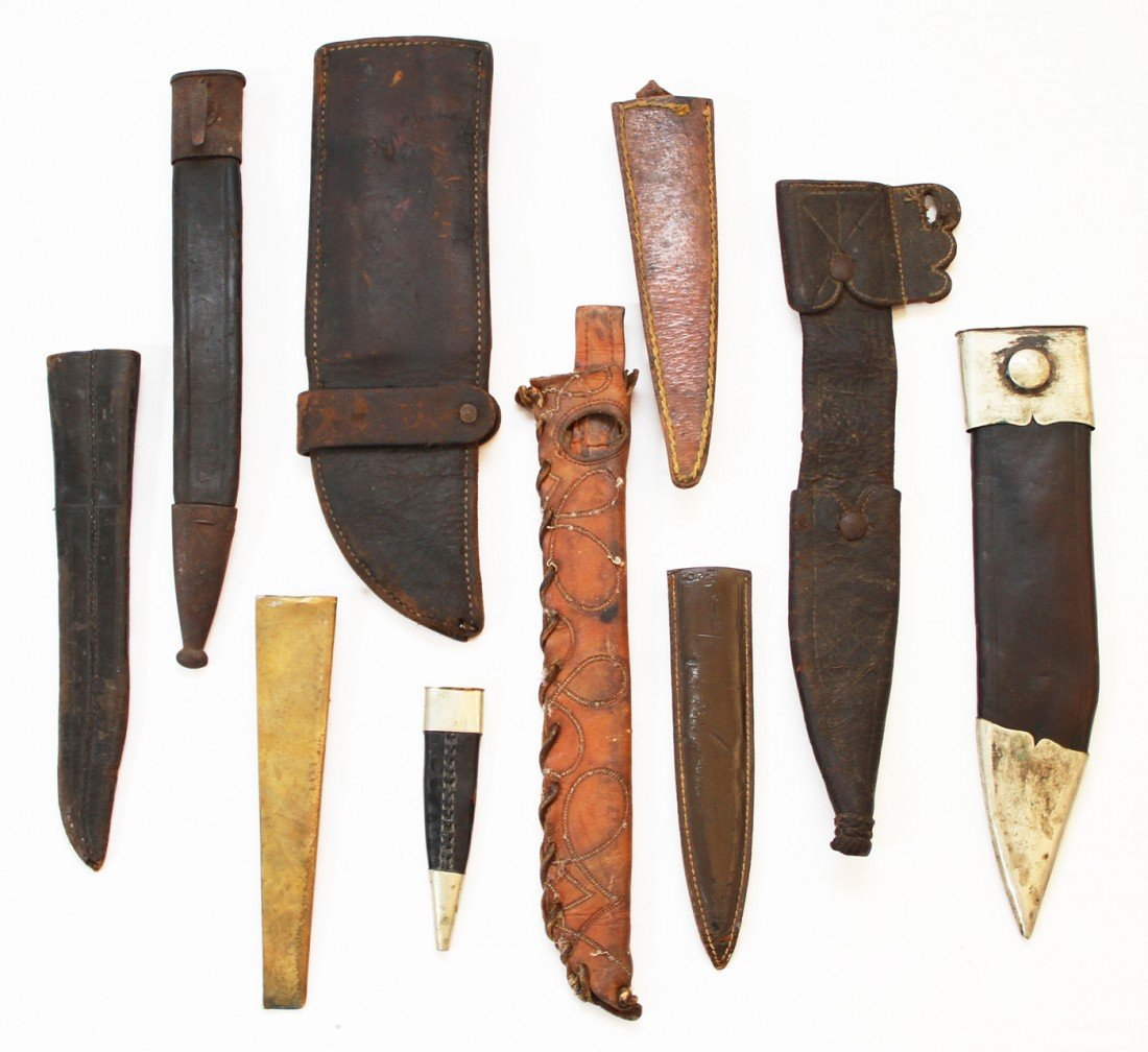 4: LOT OF NINE LEATHER KNIFE SHEATHS