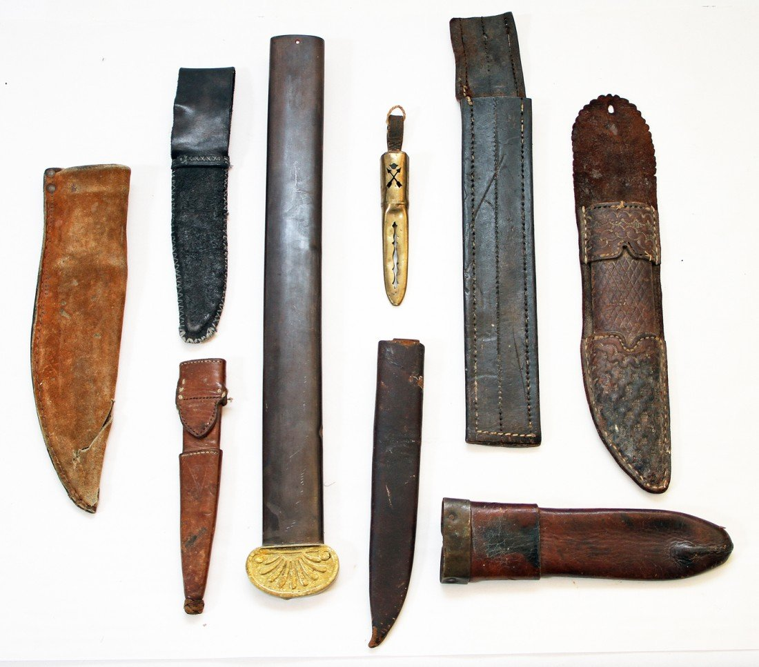 8: LOT OF SEVEN SHEATHS AND ONE  SCABBARD