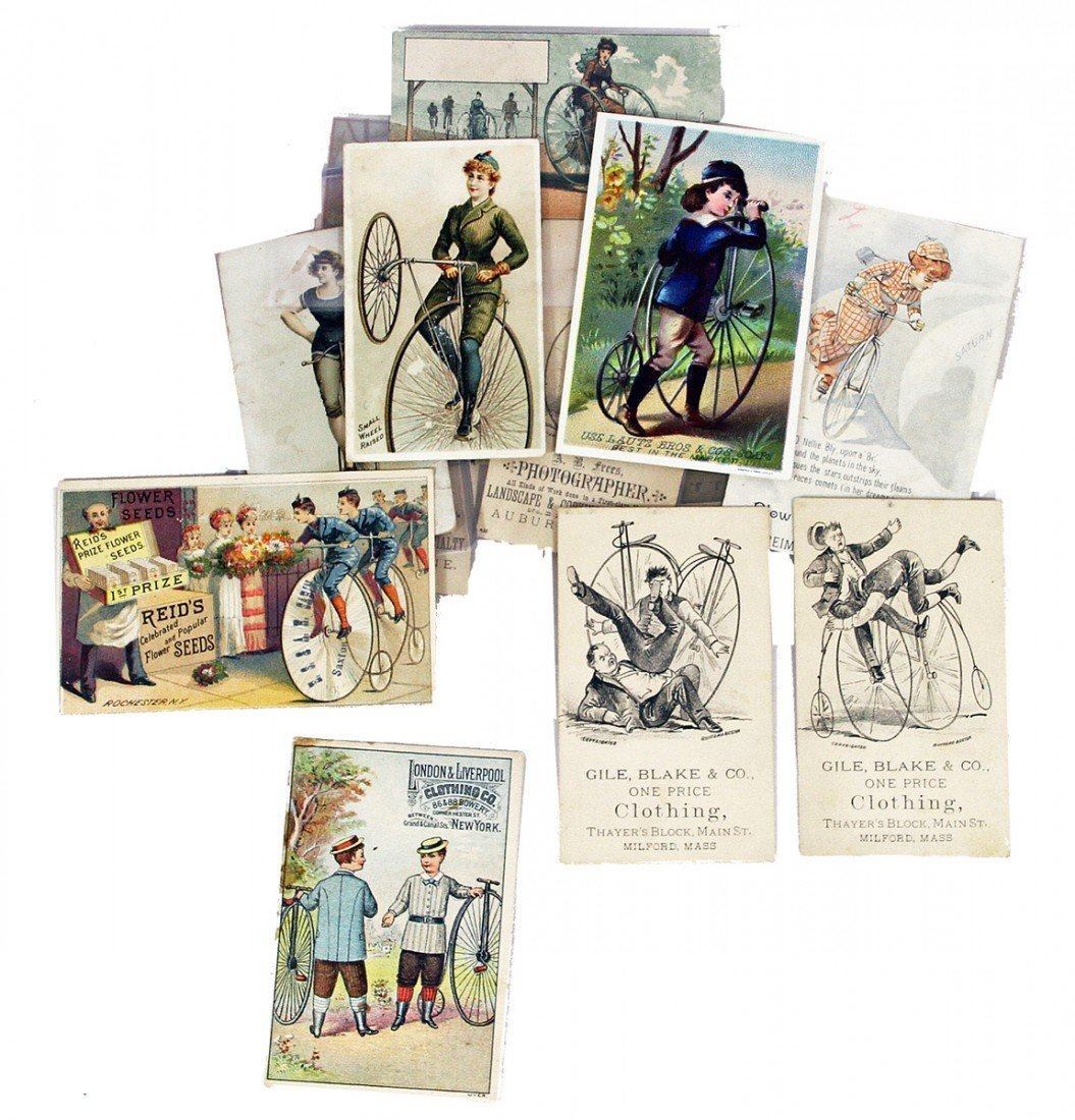 453: LOT OF VICTORIAN TRADE CARDS WITH BICYCLE IMAGES