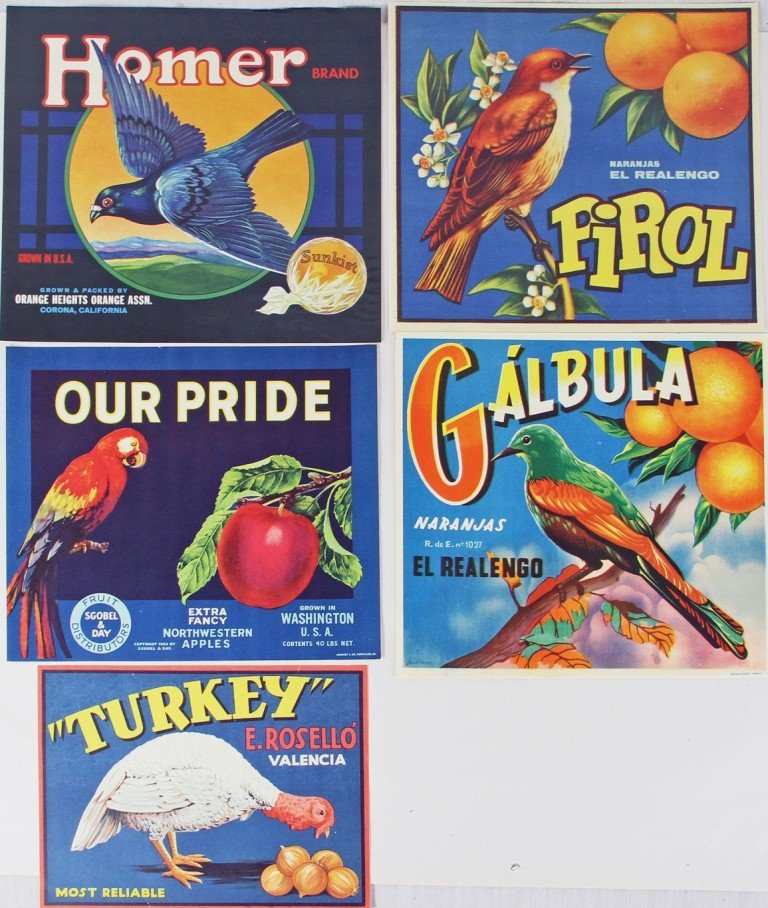 464: FIVE FRUIT CRATE LABELS WITH IMAGES OF BIRDS