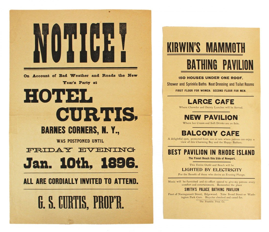 471: TWO 19TH CENTURY RECREATION BROADSIDES