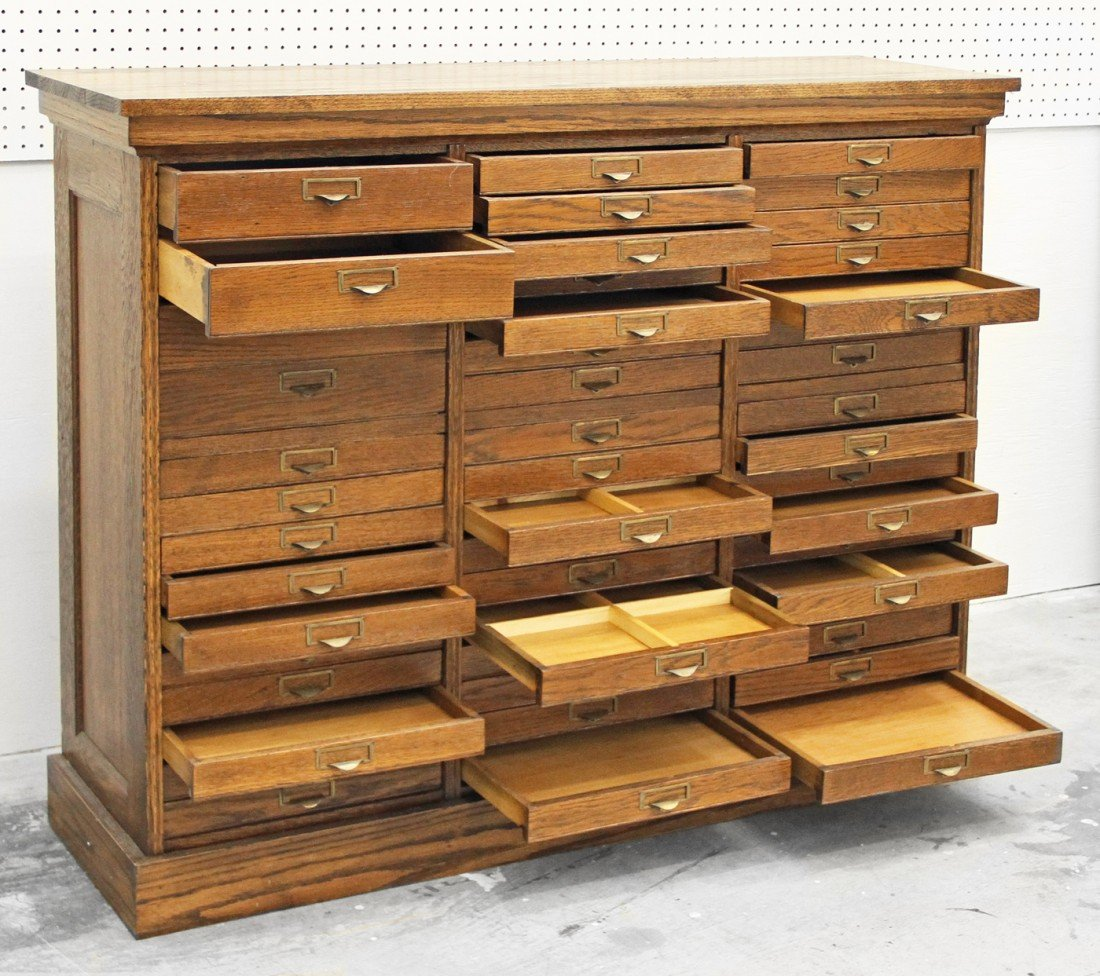 553: OAK SPECIMEN CABINET WITH 48 DRAWERS - 2