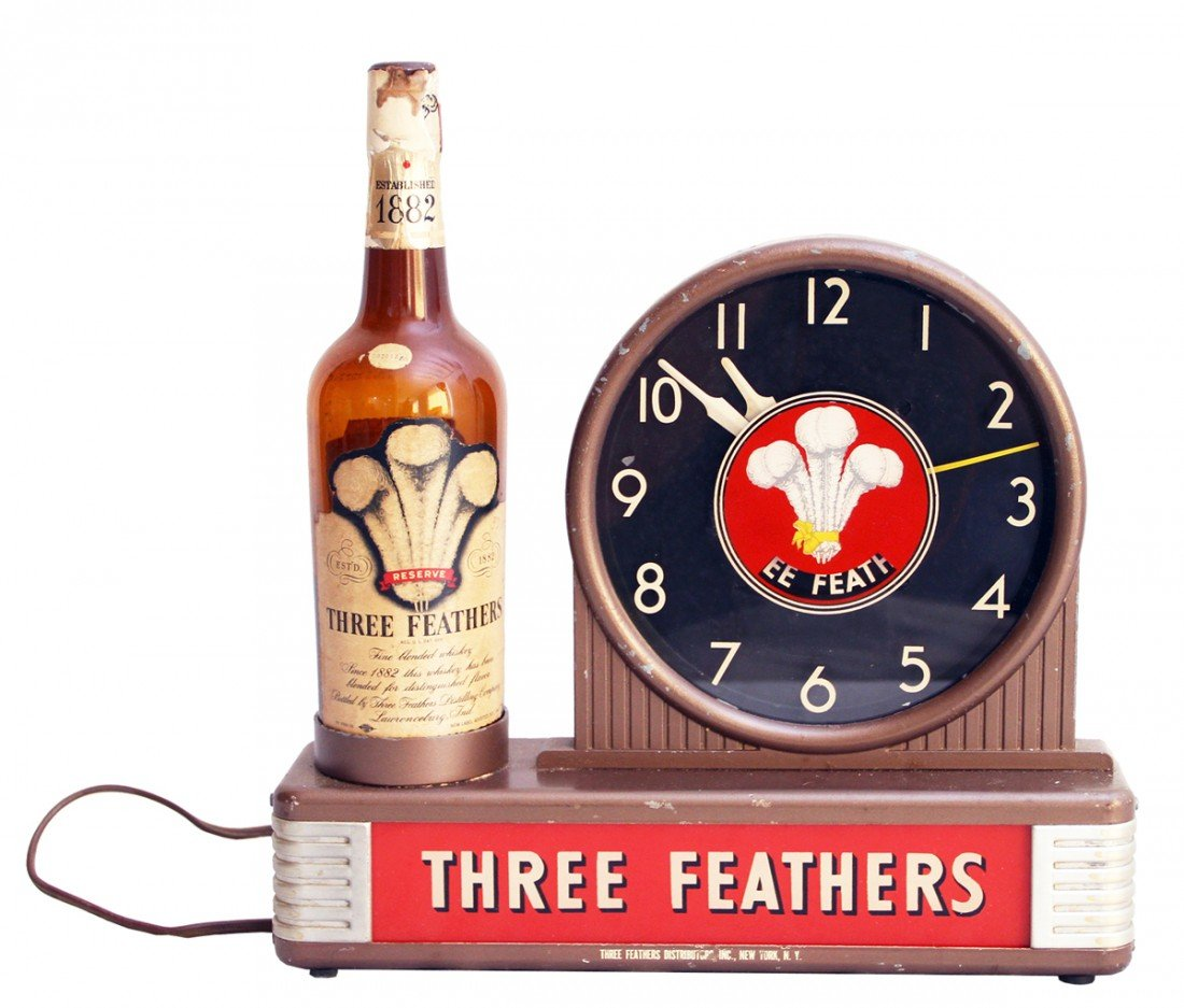682: COUNTER TOP THREE FEATHERS WHISKEY ADVERTISING CLO