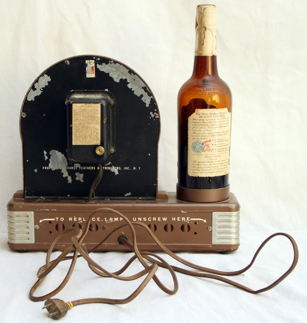 682: COUNTER TOP THREE FEATHERS WHISKEY ADVERTISING CLO - 2