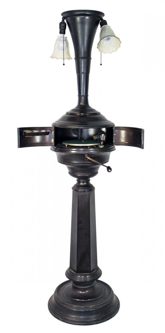832: RARE FLOOR MODEL PHONOGRAPH LAMP BY ELECTRIC PHONO