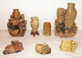 1: SEVEN PIECES OF CARVED SOAPSTONE