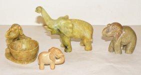 2: FOUR CARVED SOAPSTONE ELEPHANTS