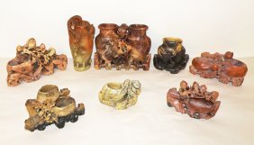3: EIGHT PIECES OF CARVED SOAPSTONE