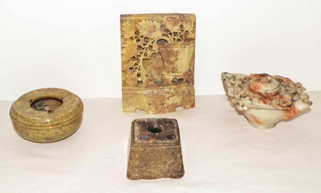 4: FOUR PIECES CARVED SOAPSTONE