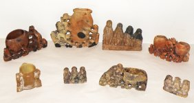 5: EIGHT PIECES OF CARVED SOAPSTONE WITH MONKEYS