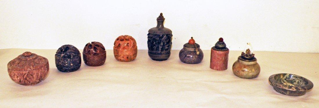 6: EIGHT CARVED SOAPSTONE PERFUME JARS