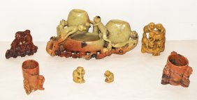 7: SEVEN  PIECES OF SOAPSTONE CARVED WITH MONKEYS