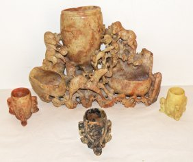 11: FOUR SOAPSTONE CARVINGS WITH MONKEYS