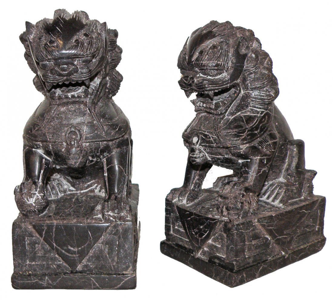 13: CARVED SOAPSTONE OF TEMPLE LION BOOKENDS